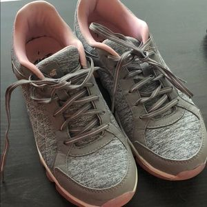 Grey and pink sneakers